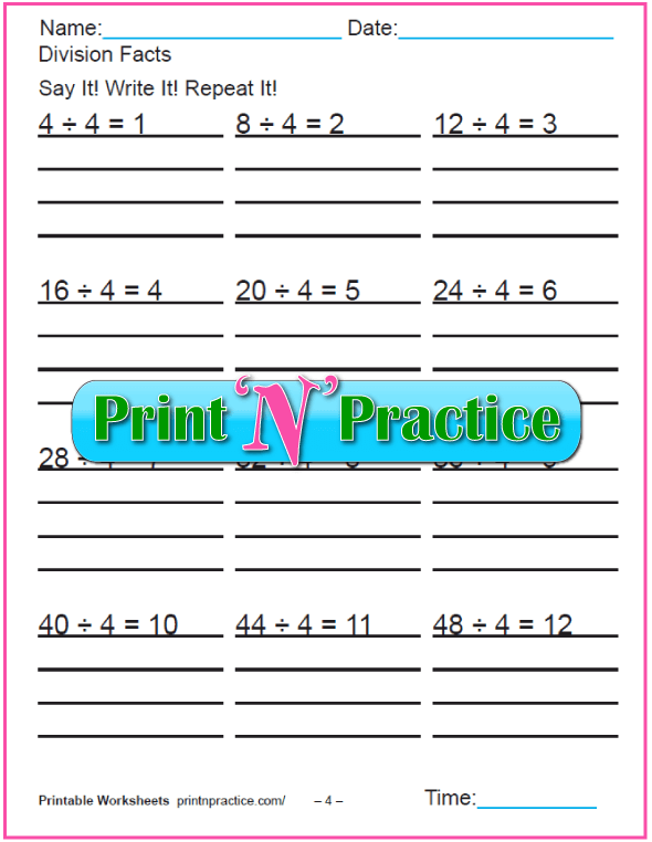 Fours Division Printable - Copy three times.
