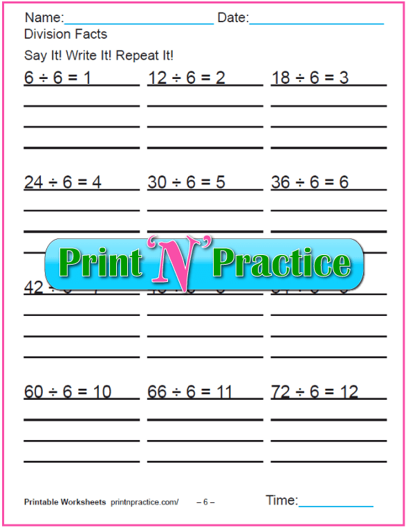 Sixes Printable Division Worksheet - Copy three times.