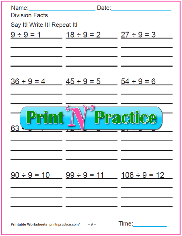 Nines 3rd Grade Division Worksheet - Copy three times.