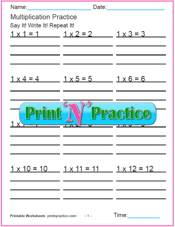 Fun Multiplication Worksheets - Ones Multiplication Practice.