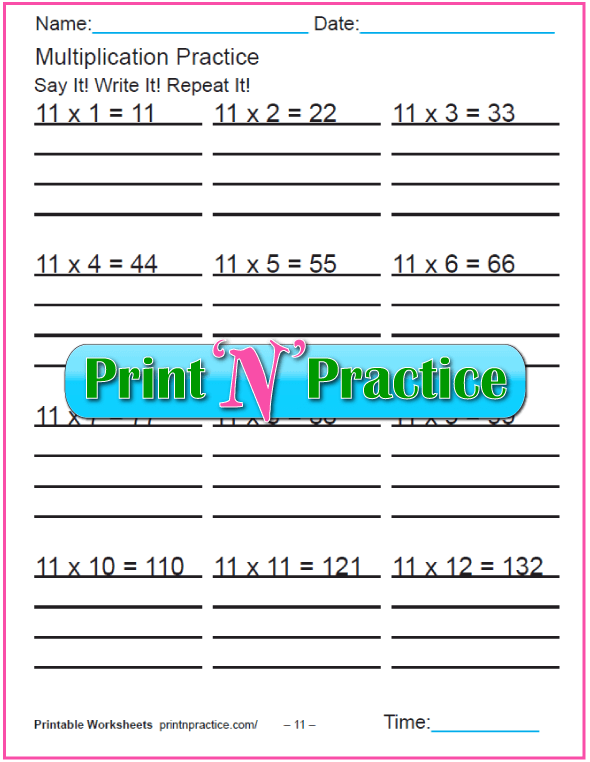 Fun Multiplication Worksheets: Elevens Multiplication Worksheet