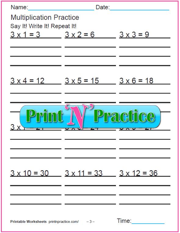 Fun Multiplication Worksheets: Threes Multiplication Worksheet