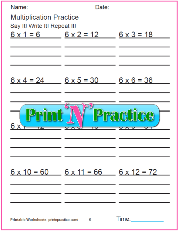Fun Multiplication Worksheets: Sixes Multiplication Worksheet