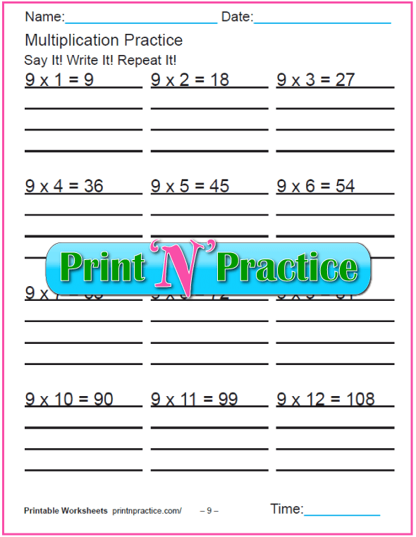 Fun Multiplication Worksheets: Nines Multiplication Worksheet