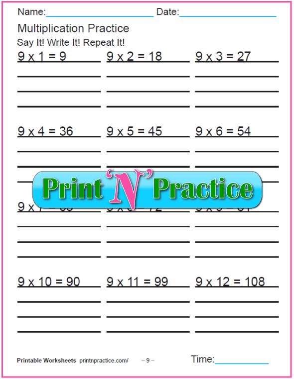 Fun Multiplication Worksheets: Nines Multiplication Worksheet
