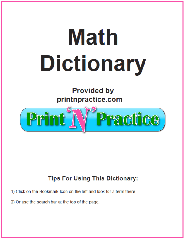 Printable Math Dictionary - 67 Pages