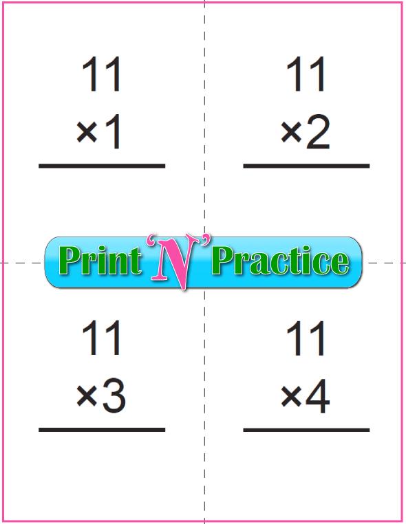 Printable Multiplication Flash Cards 11x