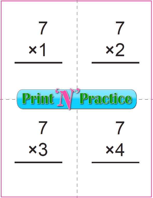 Printable Multiplication Flash Cards 7x
