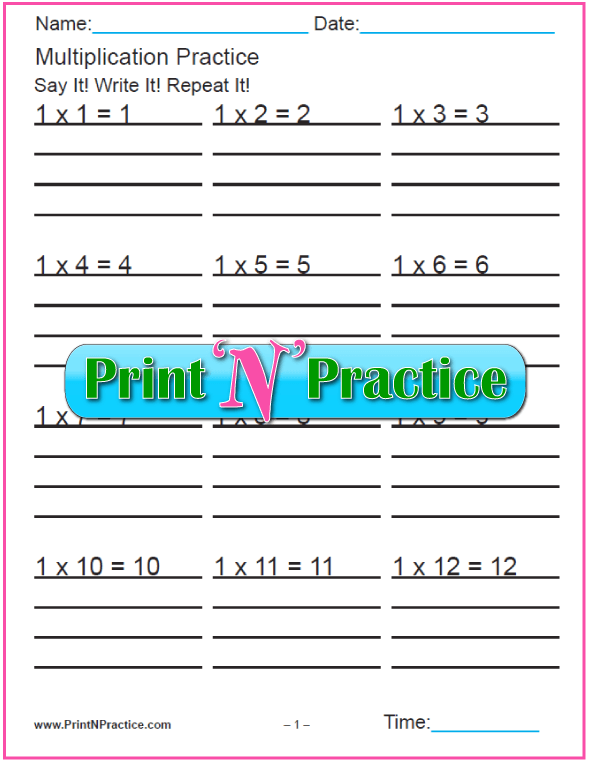 Twelve Multiplication Practice Worksheets PDF Download. Print and practice!