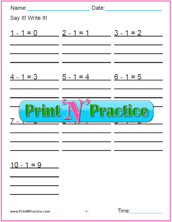 Printable Kindergarten Subtraction Worksheets Bundle - All Twelve Tables For Kindergarten and First Grade Math