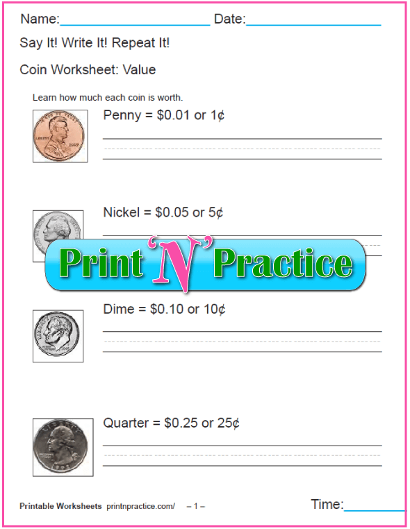 Printable Homeschool Notebooking Worksheets for Counting Money