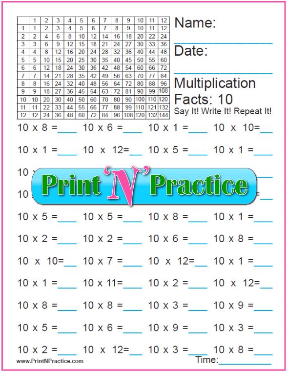 Fun Multiplication Worksheet: Tens Table B