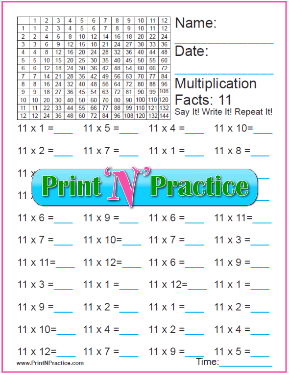 Fun Multiplication Worksheet: Elevens Table A
