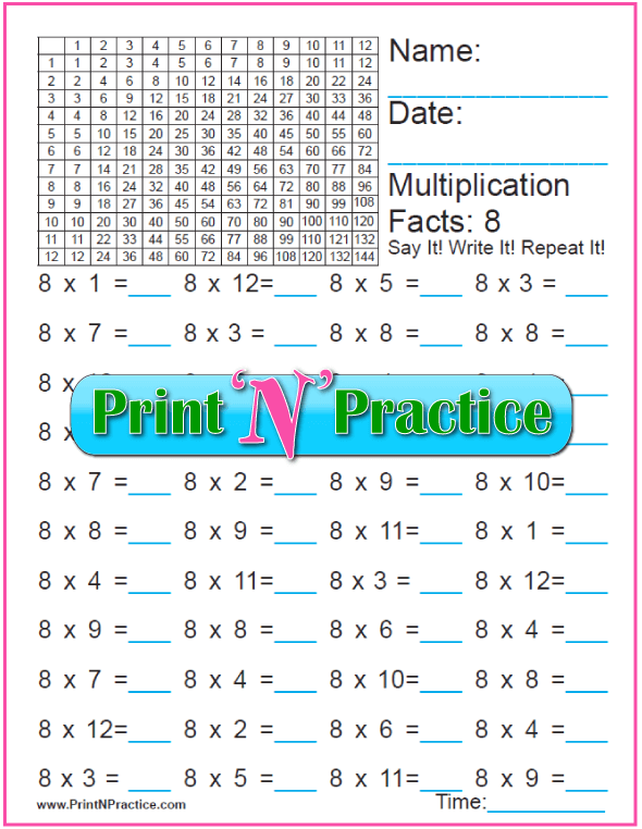 Easy Quiz Printable Multiplication Worksheets For Kids: Eights Table B