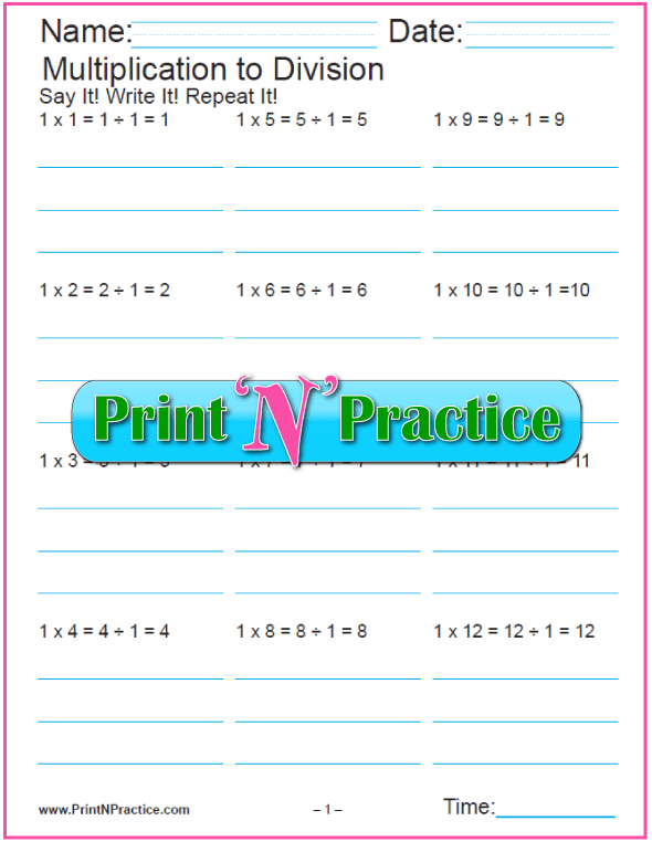 Printable Multiplication And Division Worksheets 2 in 1