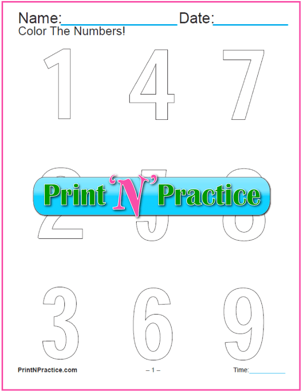 11 Number Coloring Pages: Modern Script