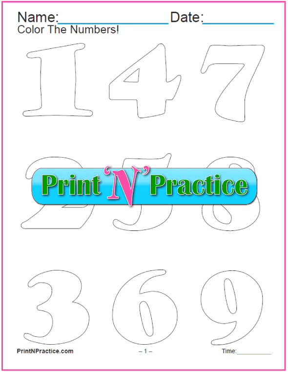 11 Curvy Number Coloring Pages