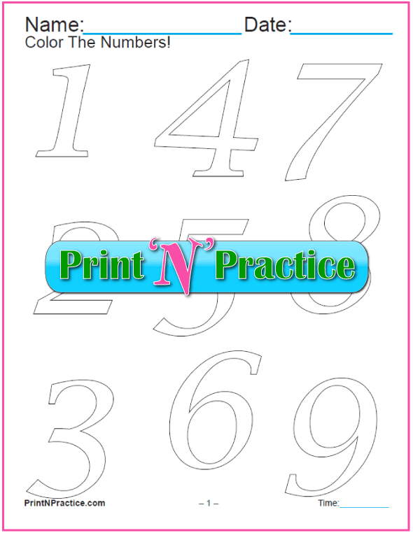 Slim Italic Number Coloring Pages