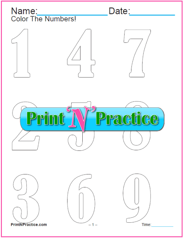 Old Font Number Coloring Pages