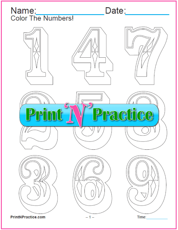 Western Ornate Number Coloring Pages – Best for poster projects, a bit artsy for little children.
