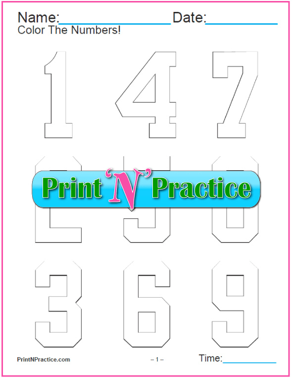 Sport Block Number Coloring Pages
