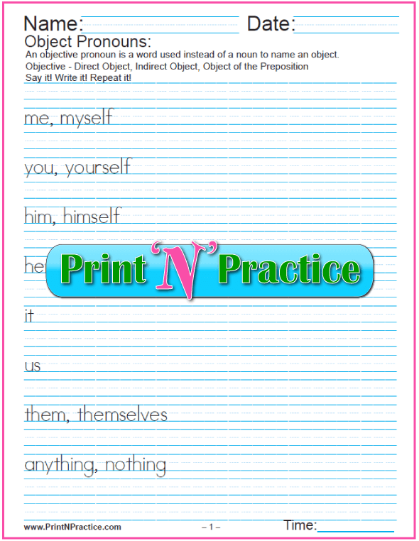Reflexive and Objective Pronoun Worksheets