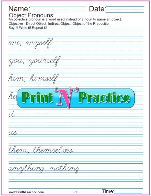 Cursive Objective Pronoun Worksheets