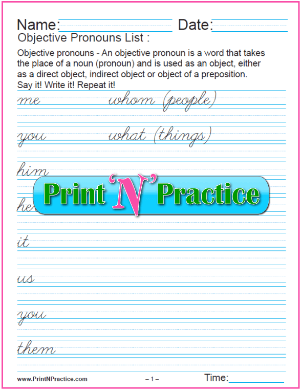 Cursive List of Object Pronouns Worksheet
