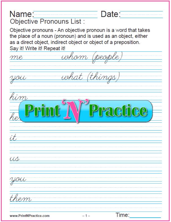 Cursive Objective Pronouns List