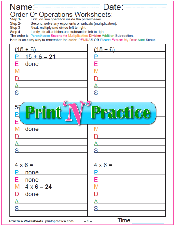 Order Of Operations Worksheets For Kids