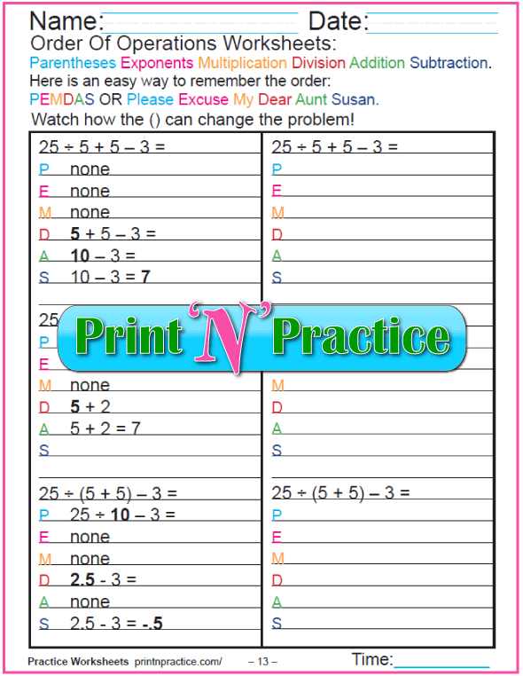 Practice Using Order of Operations Worksheet - 13