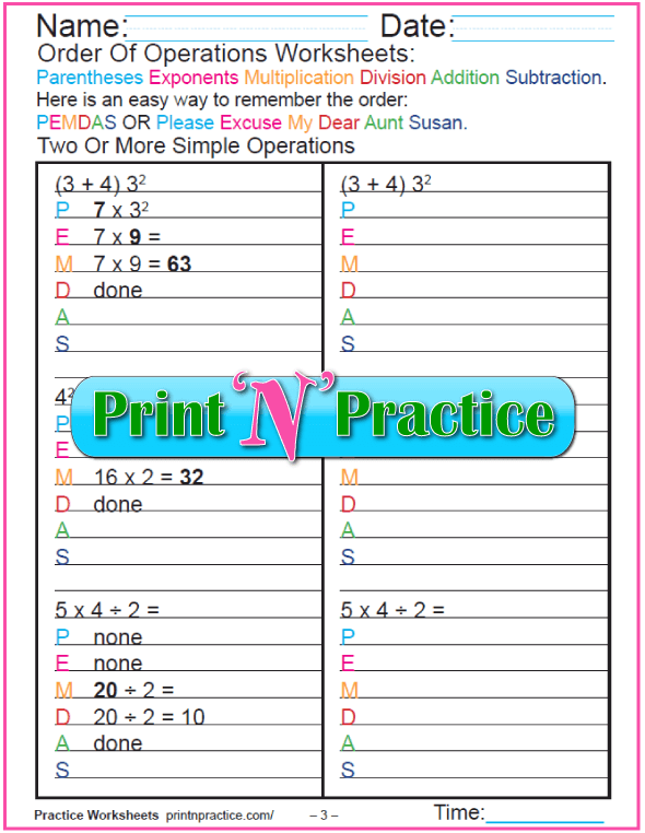Order of Operations Worksheets - PEMDAS 3