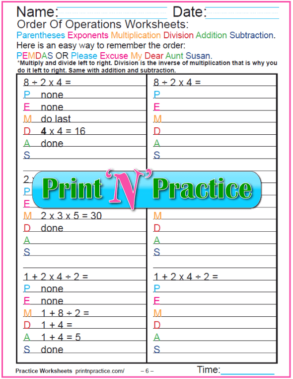 PEMDAS 6 Grade 4 Order of Operations Worksheet