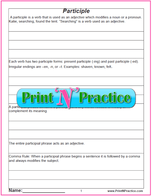 Manuscript Printable Participle Worksheet with definitions for teaching participles. PrintNPractice.com #PrintableParticipleWorksheets