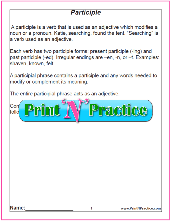 Definition of Participle Chart for teaching participles. PrintNPractice.com #PrintableParticipleWorksheets