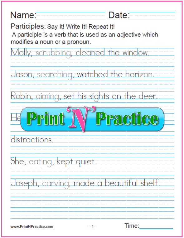 Participle Worksheets With Answers:  worksheets for teaching the participle. PrintNPractice.com #PrintableParticipleWorksheets