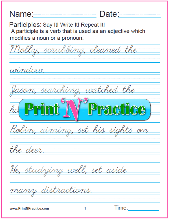 Cursive Manuscript Participle Worksheets With Answers:  worksheets for teaching the participle. PrintNPractice.com #PrintableParticipleWorksheets