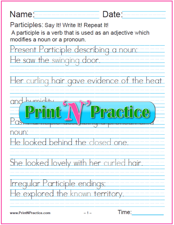 Manuscript Participle Worksheet With Answers: Participles as Adjectives for nouns and pronouns and worksheets for teaching the participle. PrintNPractice.com #PrintableParticipleWorksheets