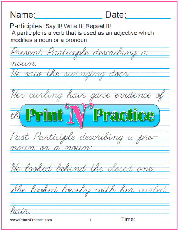 Cursive Manuscript Participle Worksheet With Answers: Participles as Adjectives for nouns and pronouns and worksheets for teaching the participle. PrintNPractice.com #PrintableParticipleWorksheets