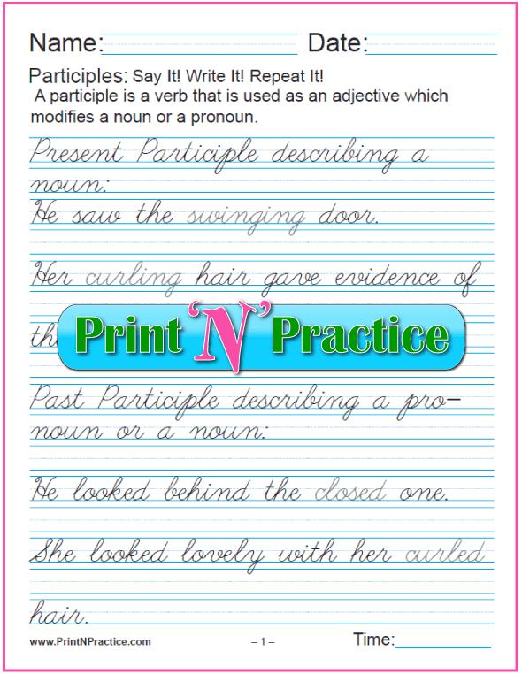 Cursive Manuscript Participle Worksheet With Answers: Participles as Adjectives for nouns and pronouns and worksheets for teaching the participle. PrintNPractice.com #PrintableParticipleWorksheets