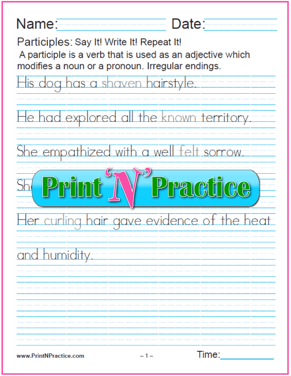 Manuscript Participle Worksheets: Participles with Irregular Endings as Adjectives for nouns and pronouns and worksheets for teaching the participle. PrintNPractice.com #PrintableParticipleWorksheets