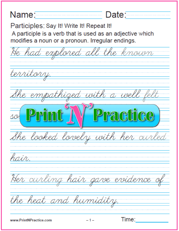 Cursive Participle Worksheets: Participles with Irregular Endings as Adjectives for nouns and pronouns and worksheets for teaching the participle. PrintNPractice.com #PrintableParticipleWorksheets