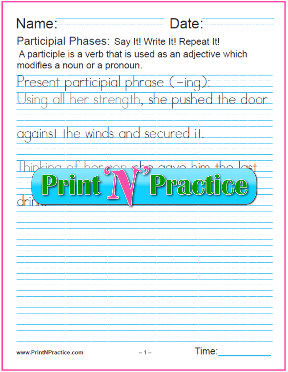 Present Participle Worksheet: Present Participial Phrases with -ing for teaching the participle. PrintNPractice.com #PrintableParticipleWorksheets