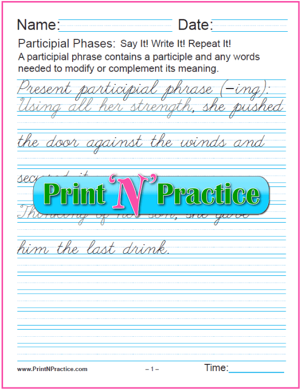 Cursive Printable Participle Worksheets for teaching the participle. PrintNPractice.com #PrintableParticipleWorksheets
