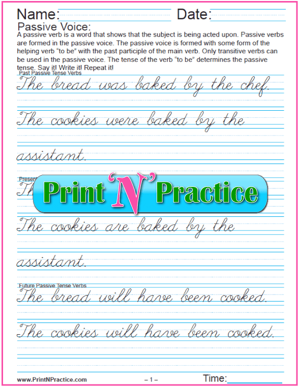 Passive Verb Worksheets: Cursive
