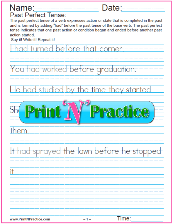 Verb Tenses Worksheets: 2 Past Perfect Verb Worksheets for copywork
