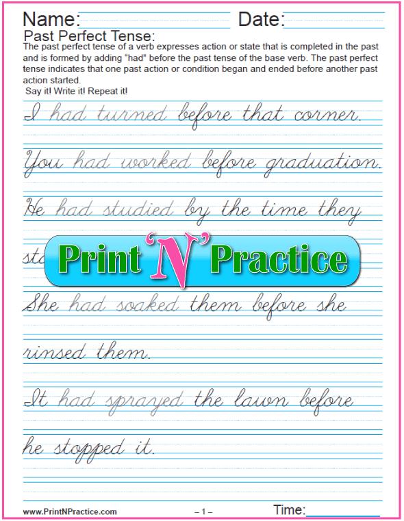 Past Perfect Tense: Cursive Writing Verb Tenses Worksheets