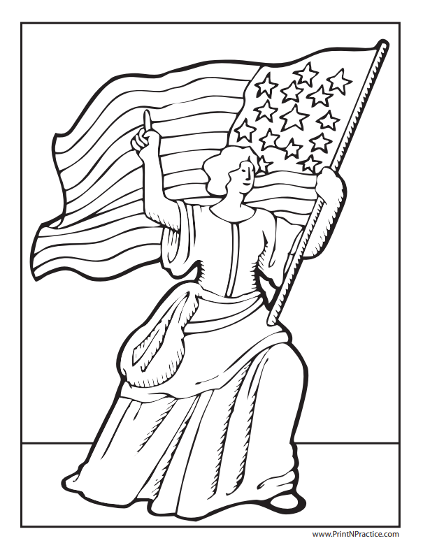 Betsy Ross Flag Girl: Lady and Flag Coloring Page