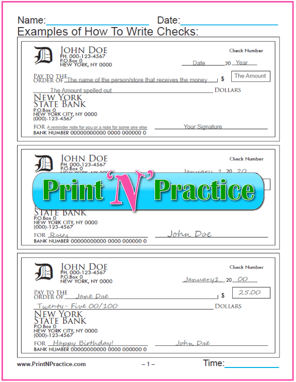 Number Writing Worksheets: Practice Writing Checks for kids and adults.