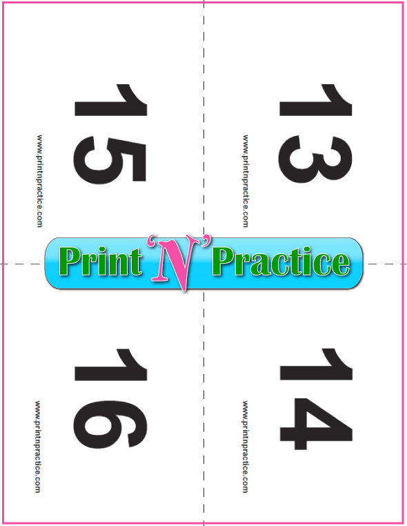 PDF Preschool Flash Cards 13-16